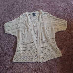 Rue 21 cream/tan knit short sleeve sweater
